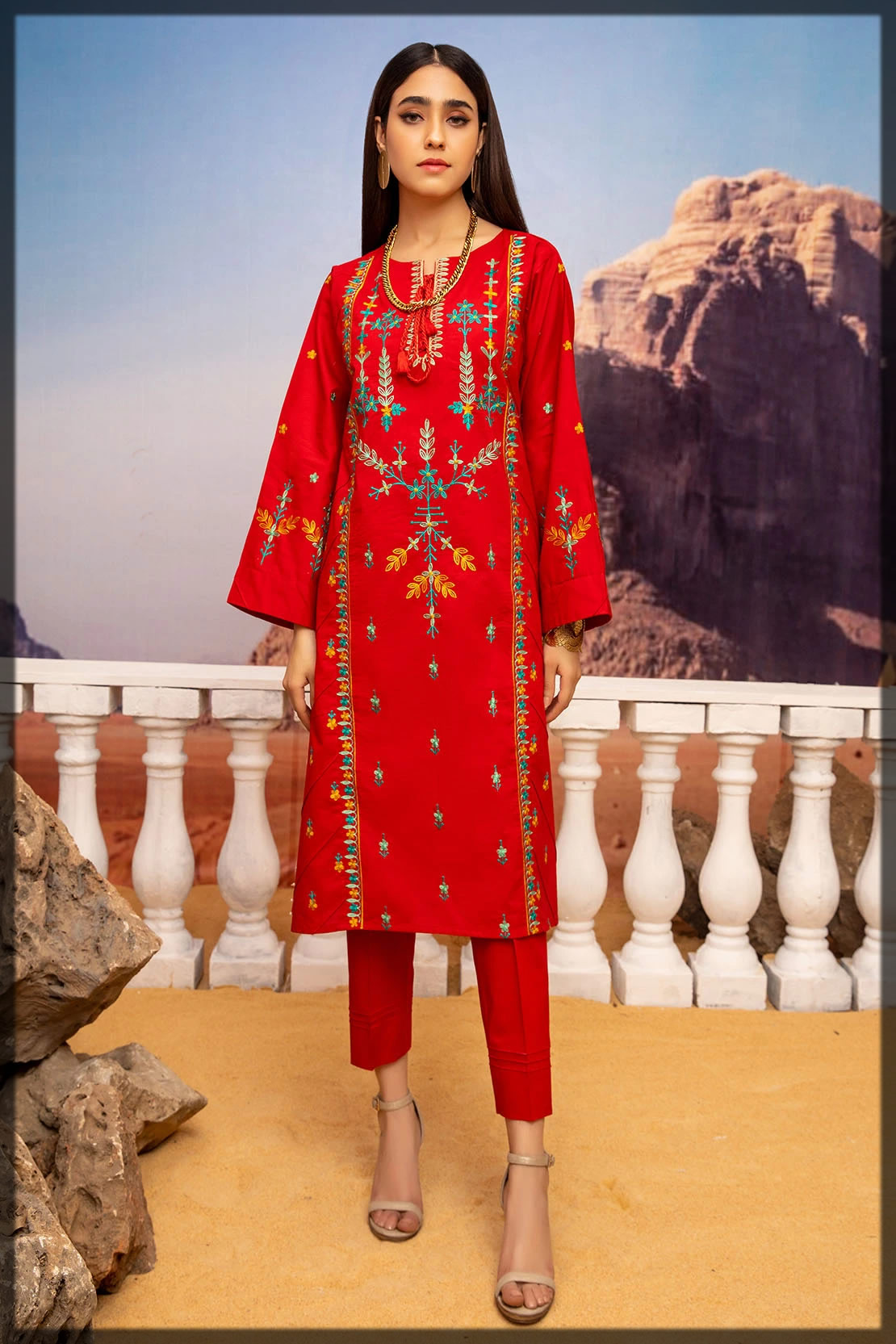 red solid embroidered lawn shirts
