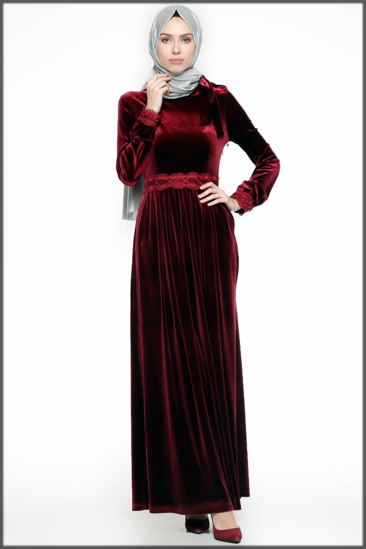 red stylish velvet abaya