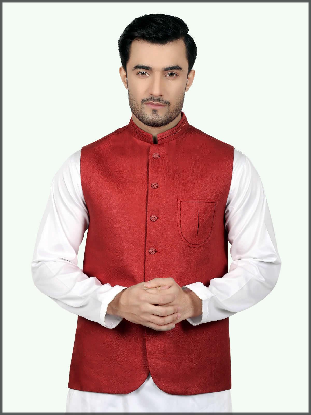 red stylish waistcoat
