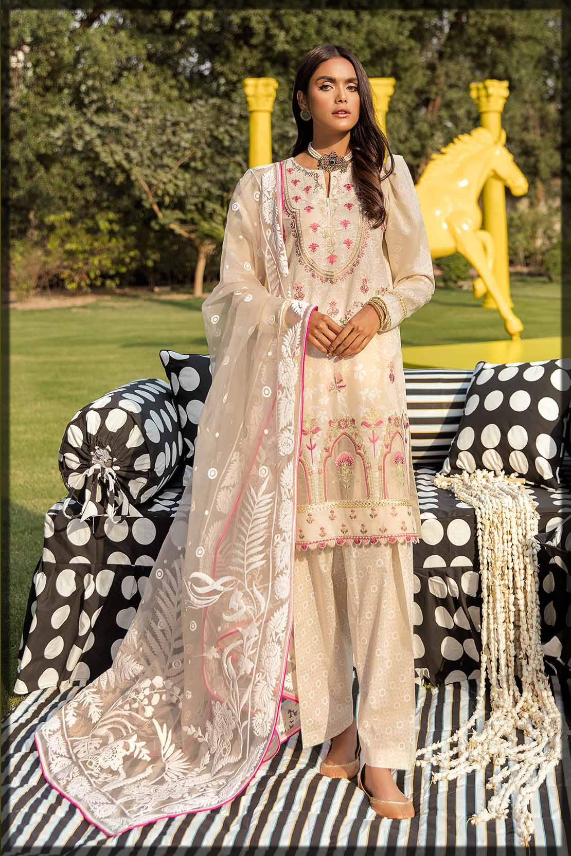 refreshing beige embroidered lawn suit