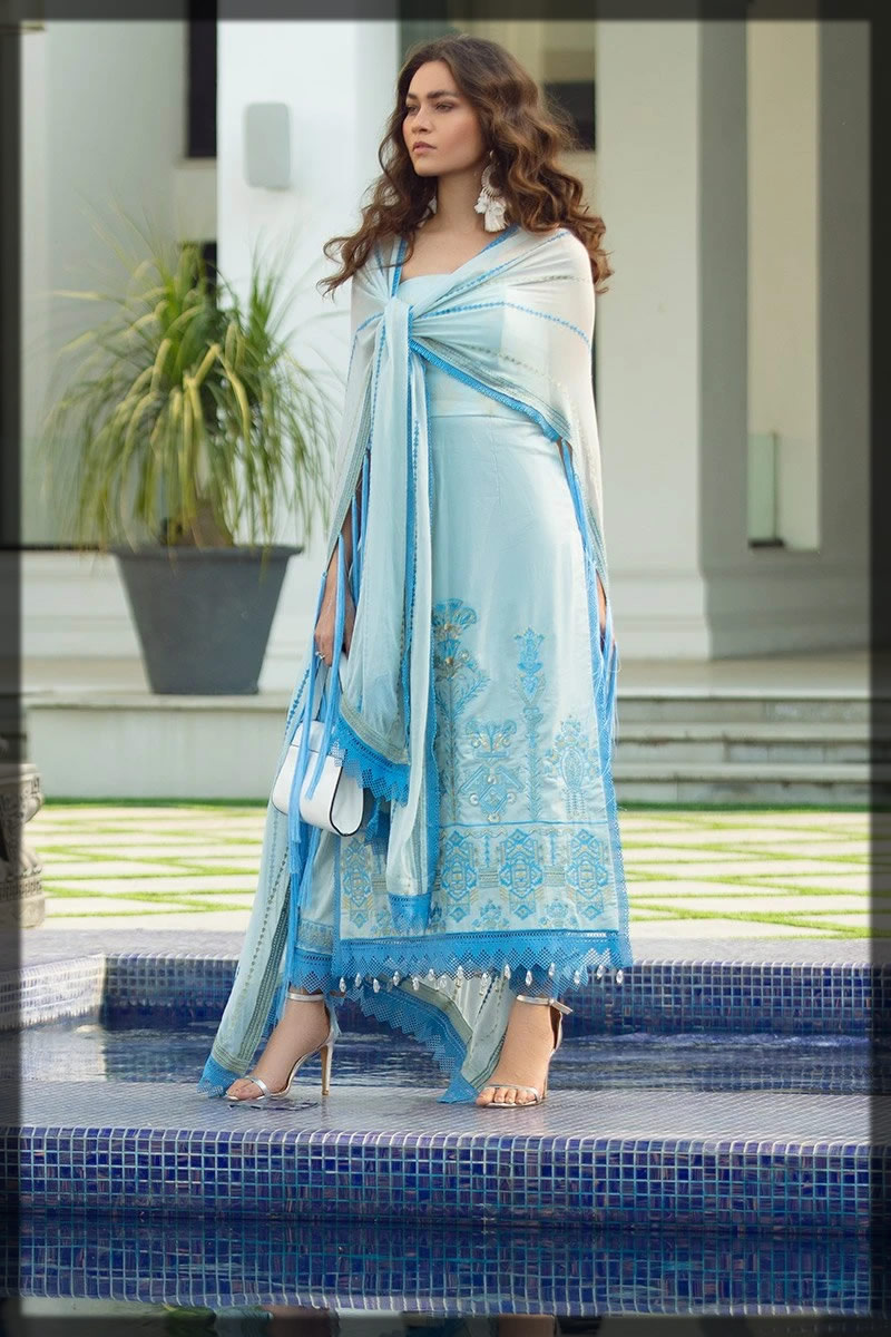 refreshingh blue embroidered lawn dress