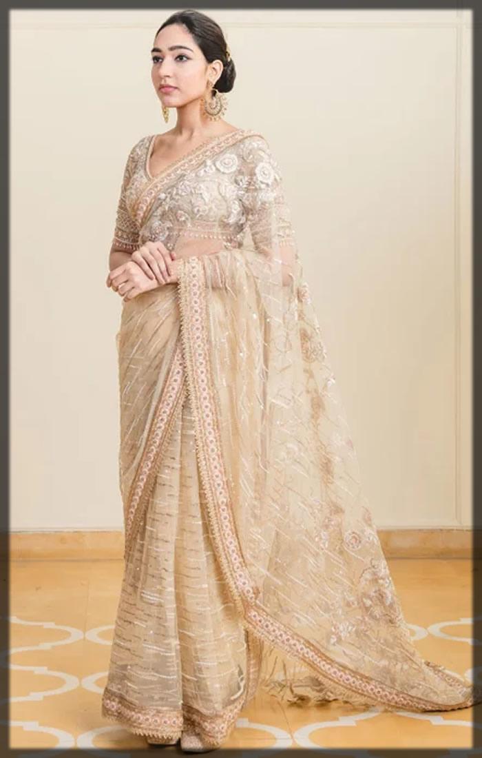 resham and sequin embroidered sari