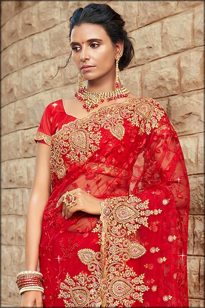 resham bridal saree