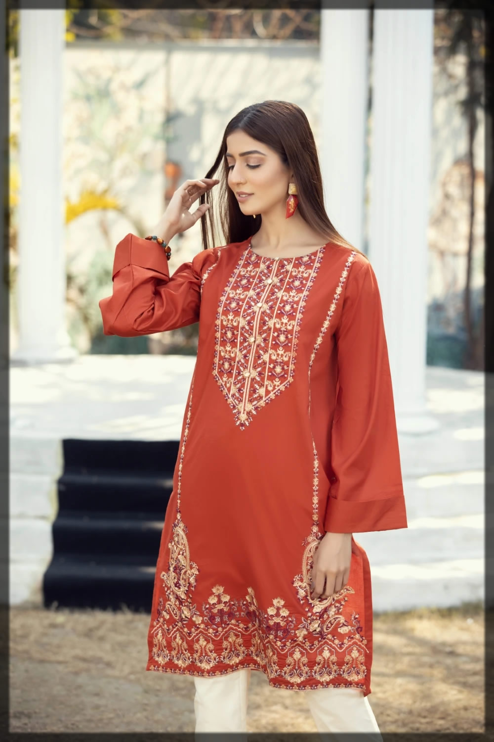 rust embroidered lawn pret shirt