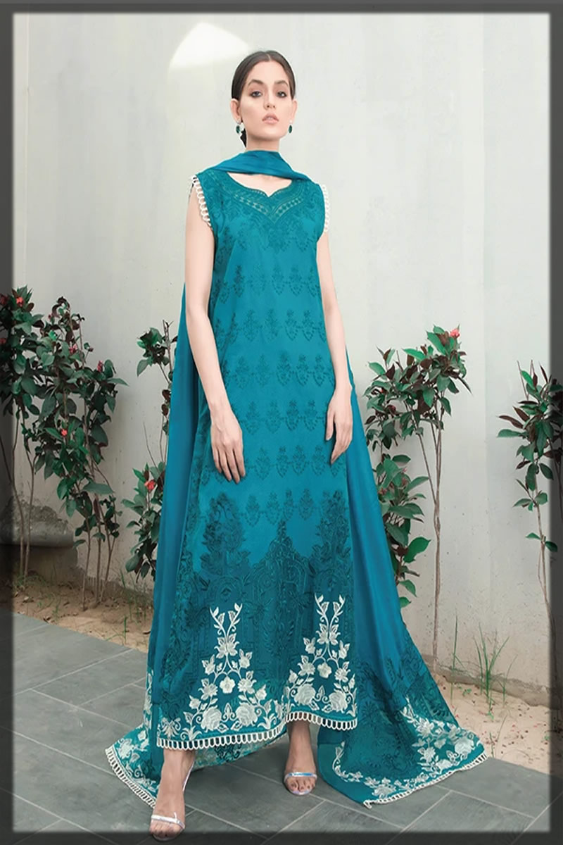 sea blue embroidered lawn suit
