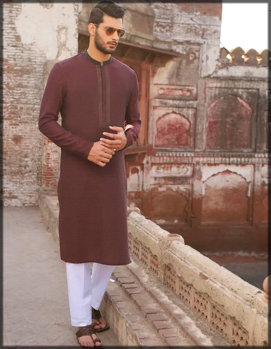 semi-formal kurta for men in maroon