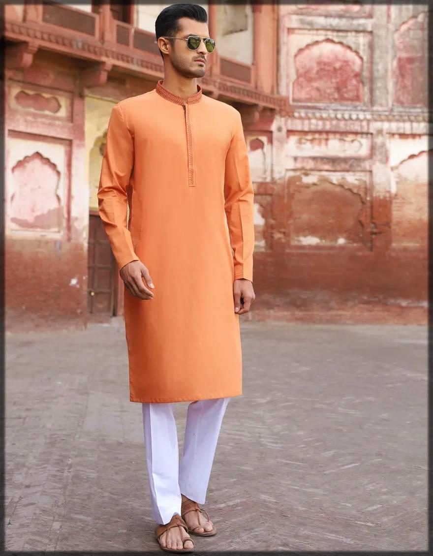 semi-formal kurta for men in rust