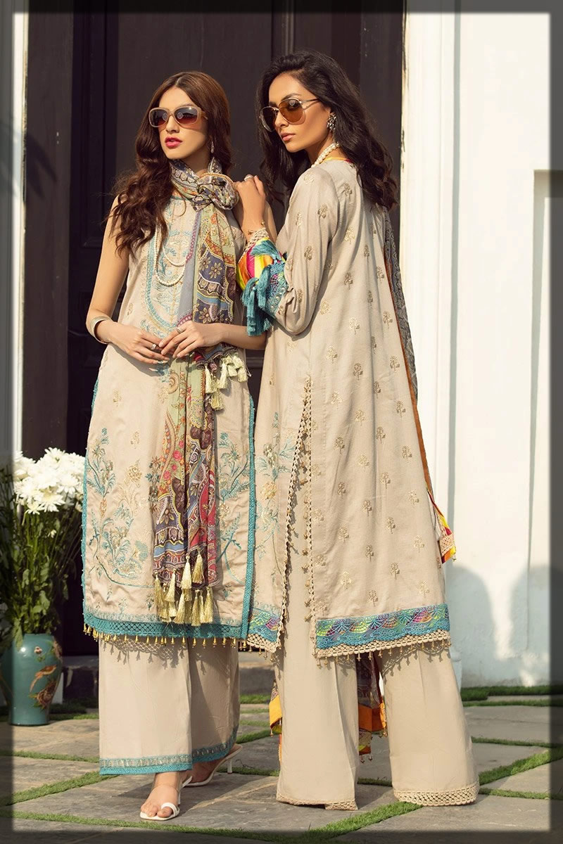 sequined embroidered lawn shirt