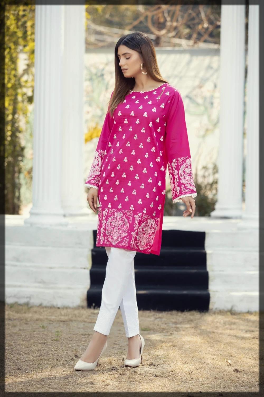 shocking pink printed pret shirt