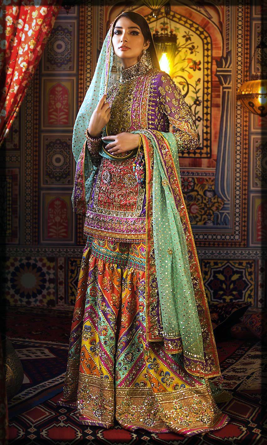 short shirt with sharara bride mehndi dress