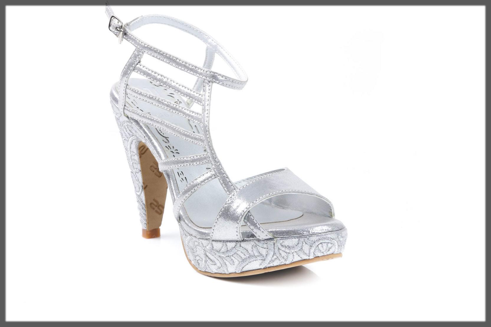 silver fancy heels for summers