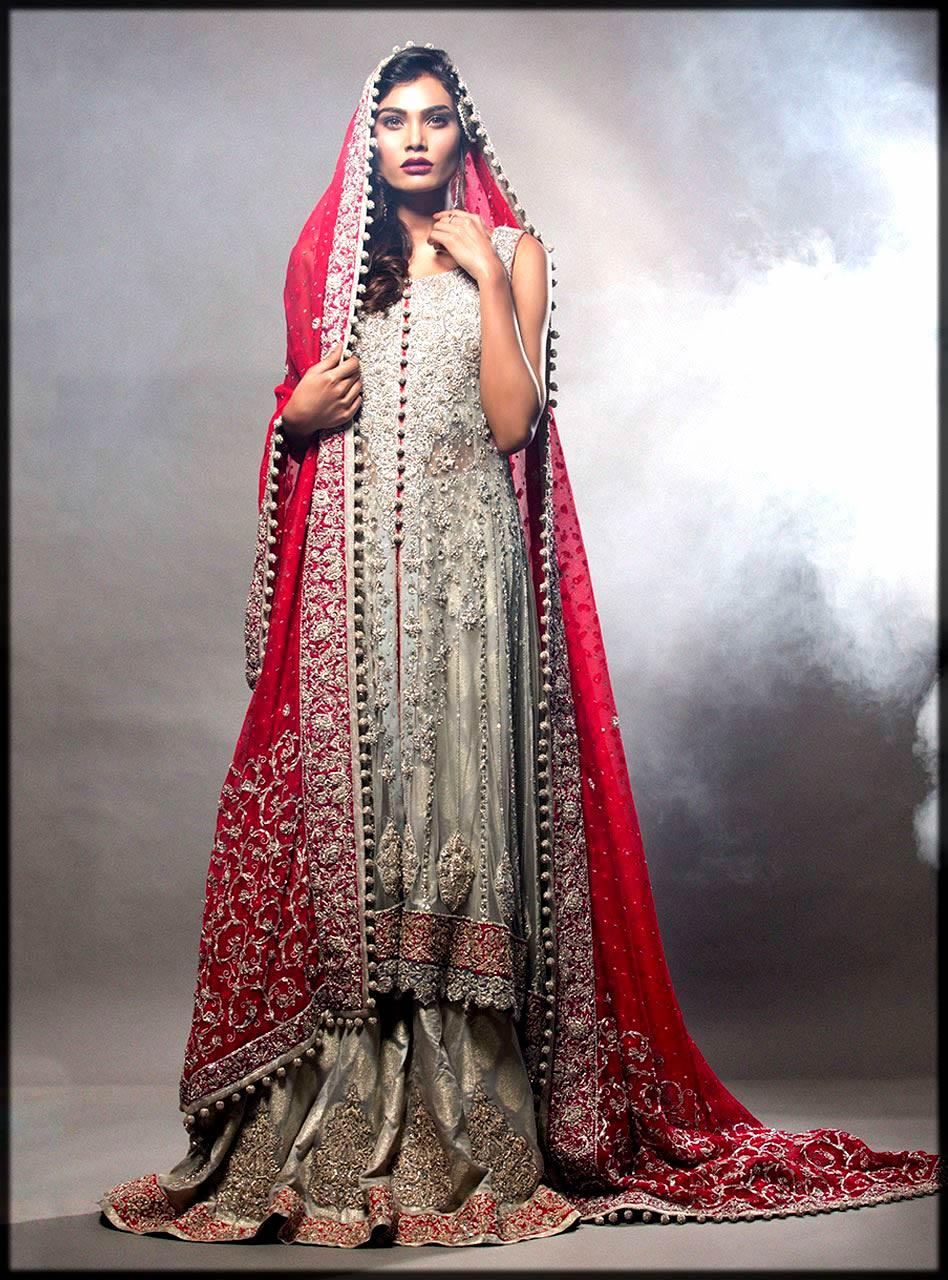 silver long shirt bridal dress by zainab chottani