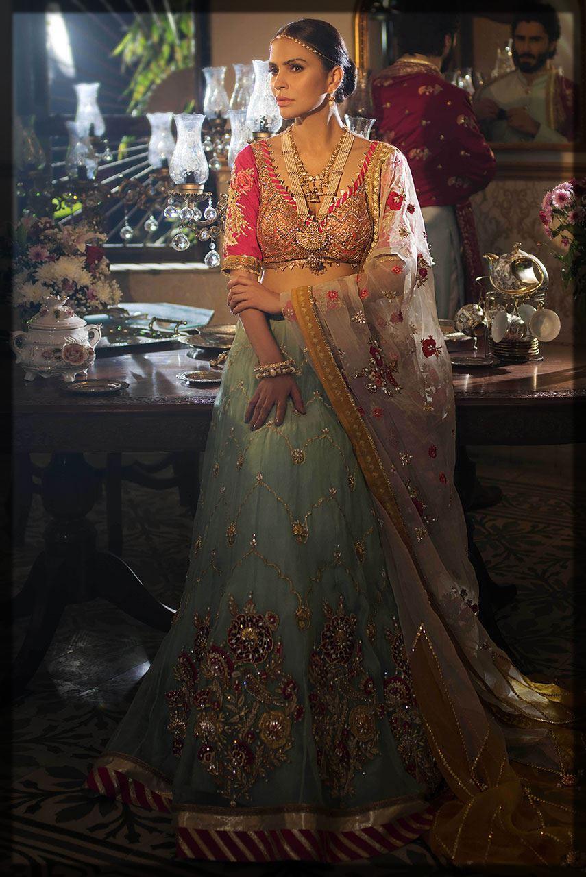 sky blue and purple bridal attire by Deepak Perwani