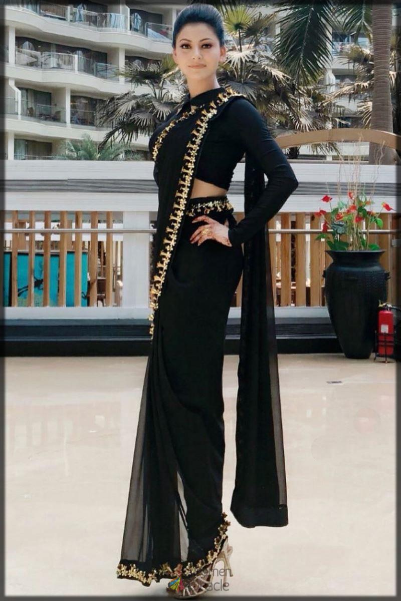 sleek black Pant Style Saree