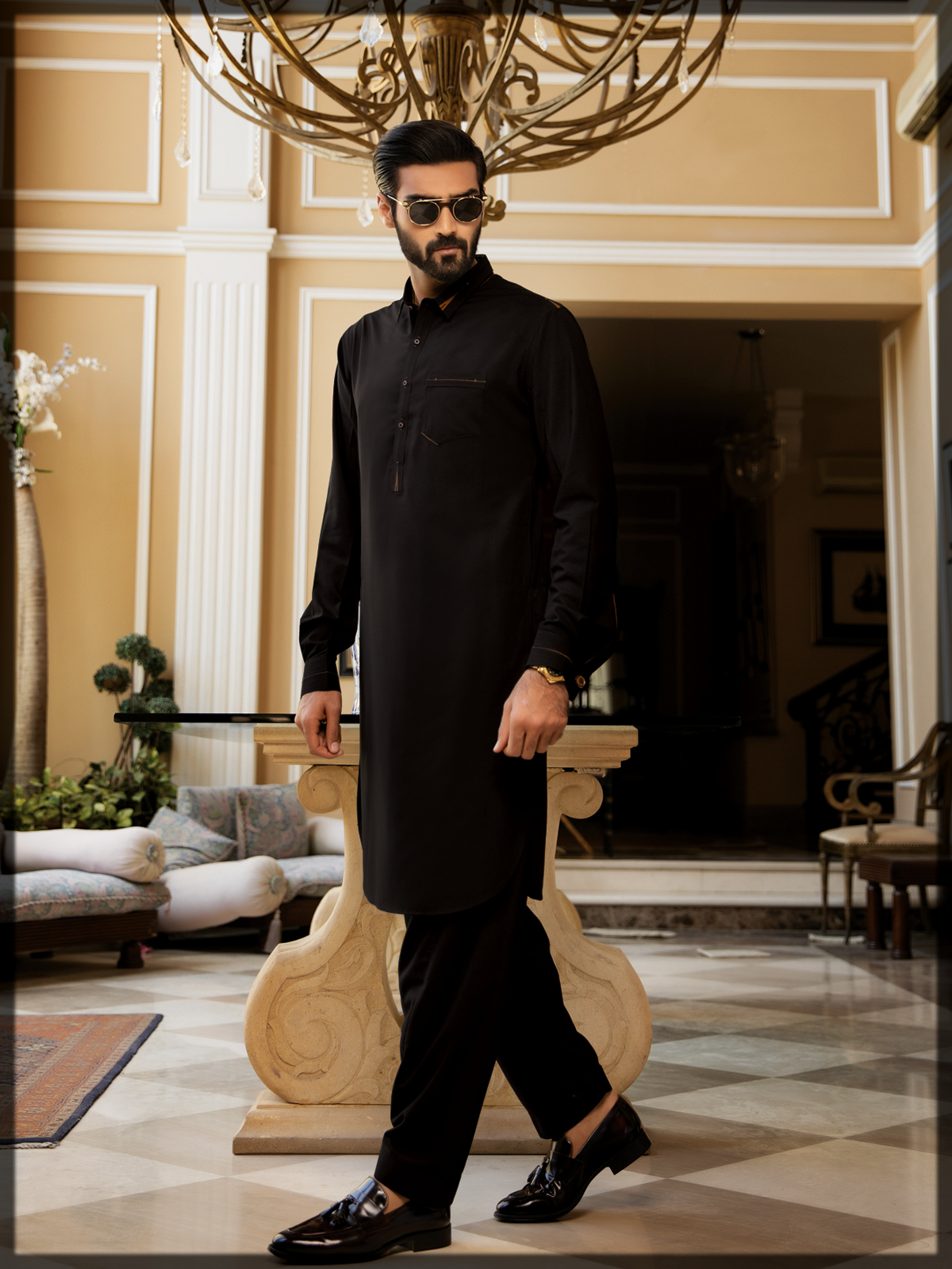 sleek black edenrobe shalwar kameez for men