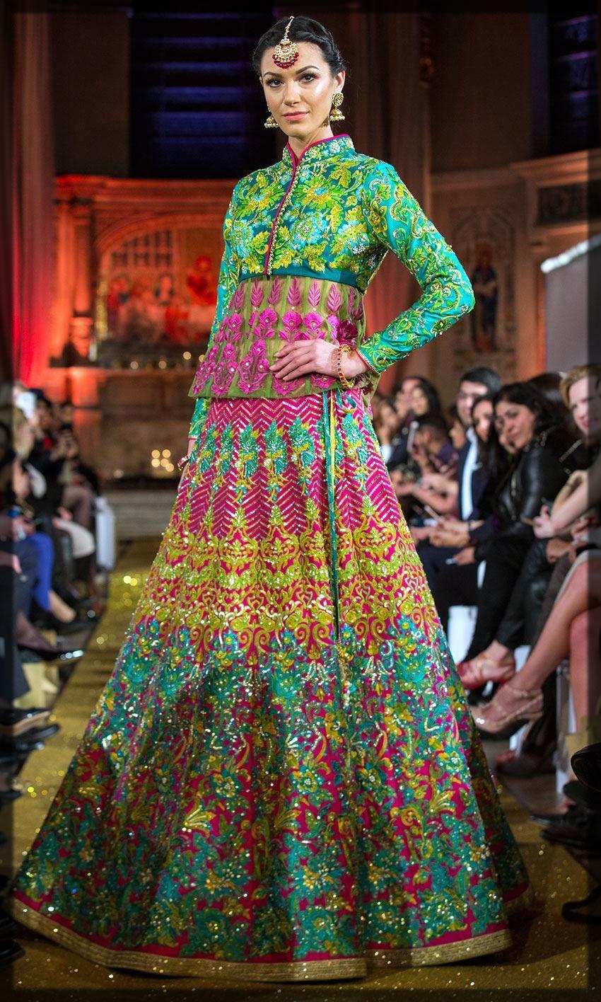 striking green and pink bridal dress