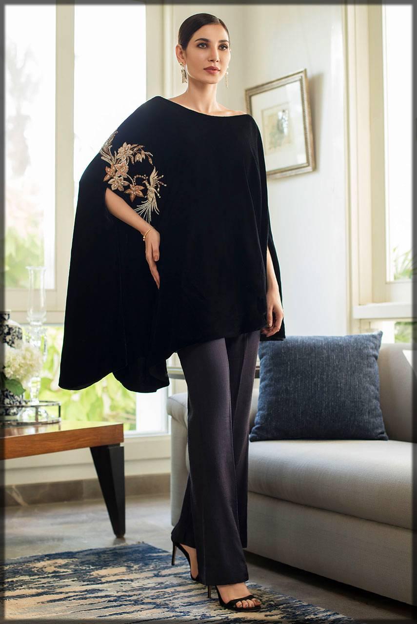 stylish black poncho