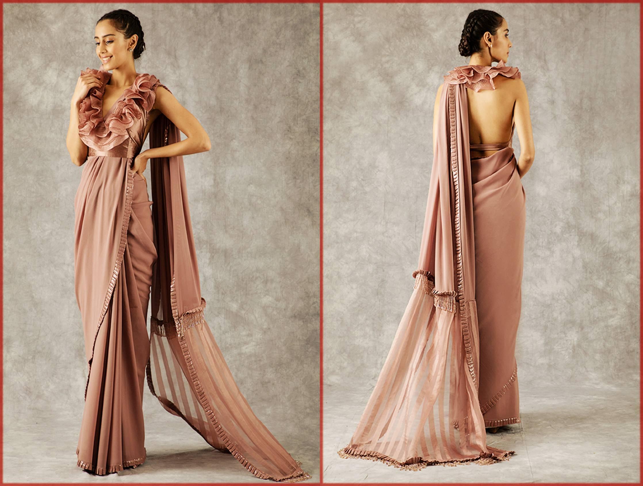 stylish organza stripe sari