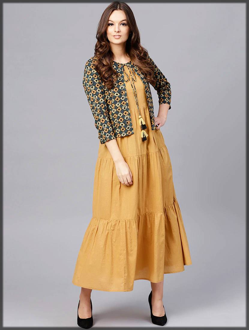 stylish party wear frock with jacket