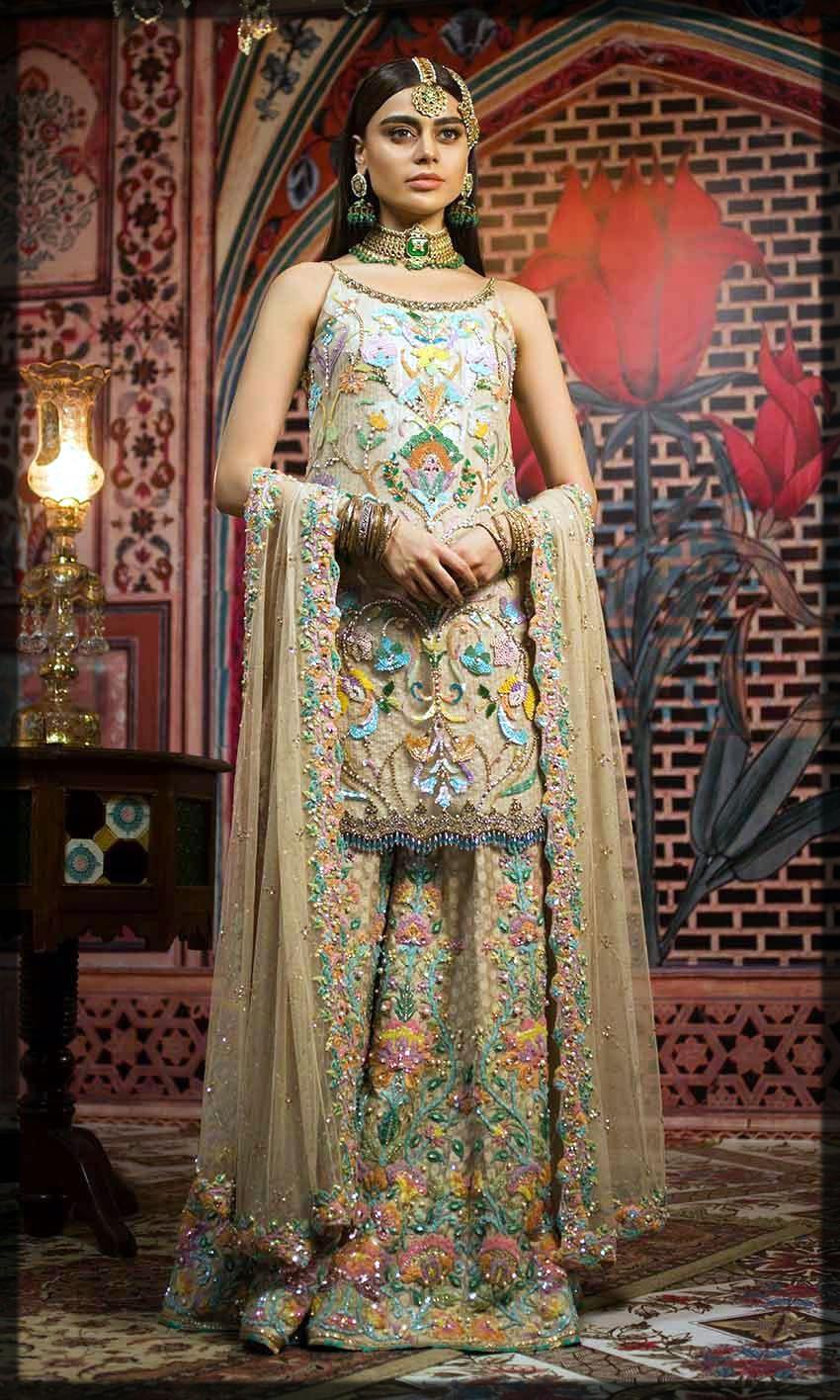 stylish patterns walima day dress for bride