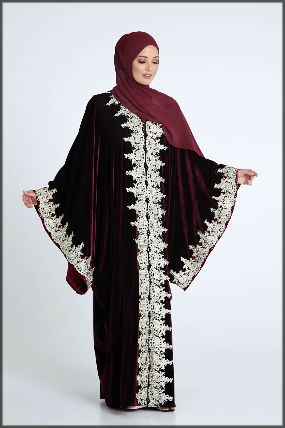 stylish red abaya for parties