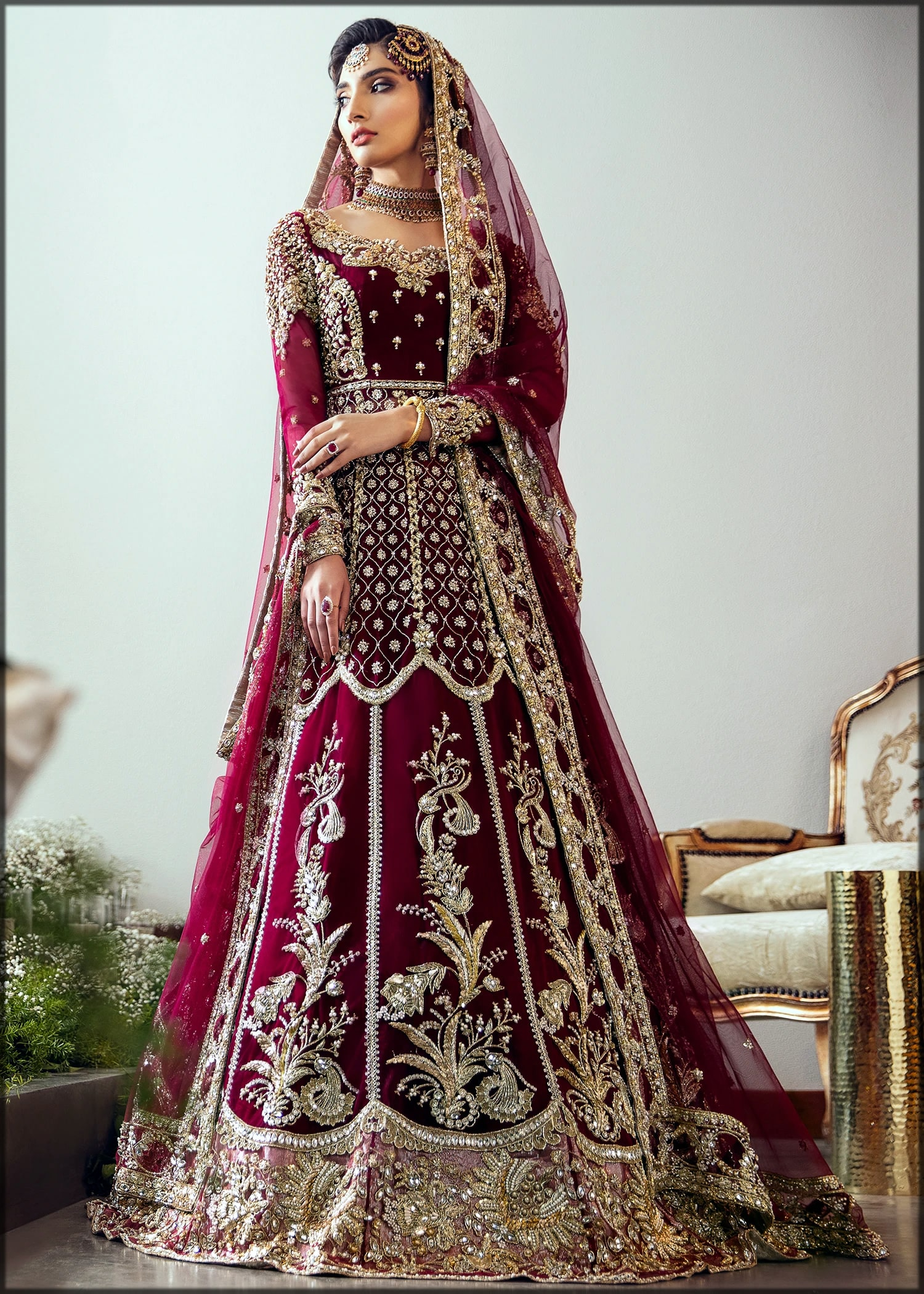 stylish red canberry peshwas for brides by sadaf fawad khan