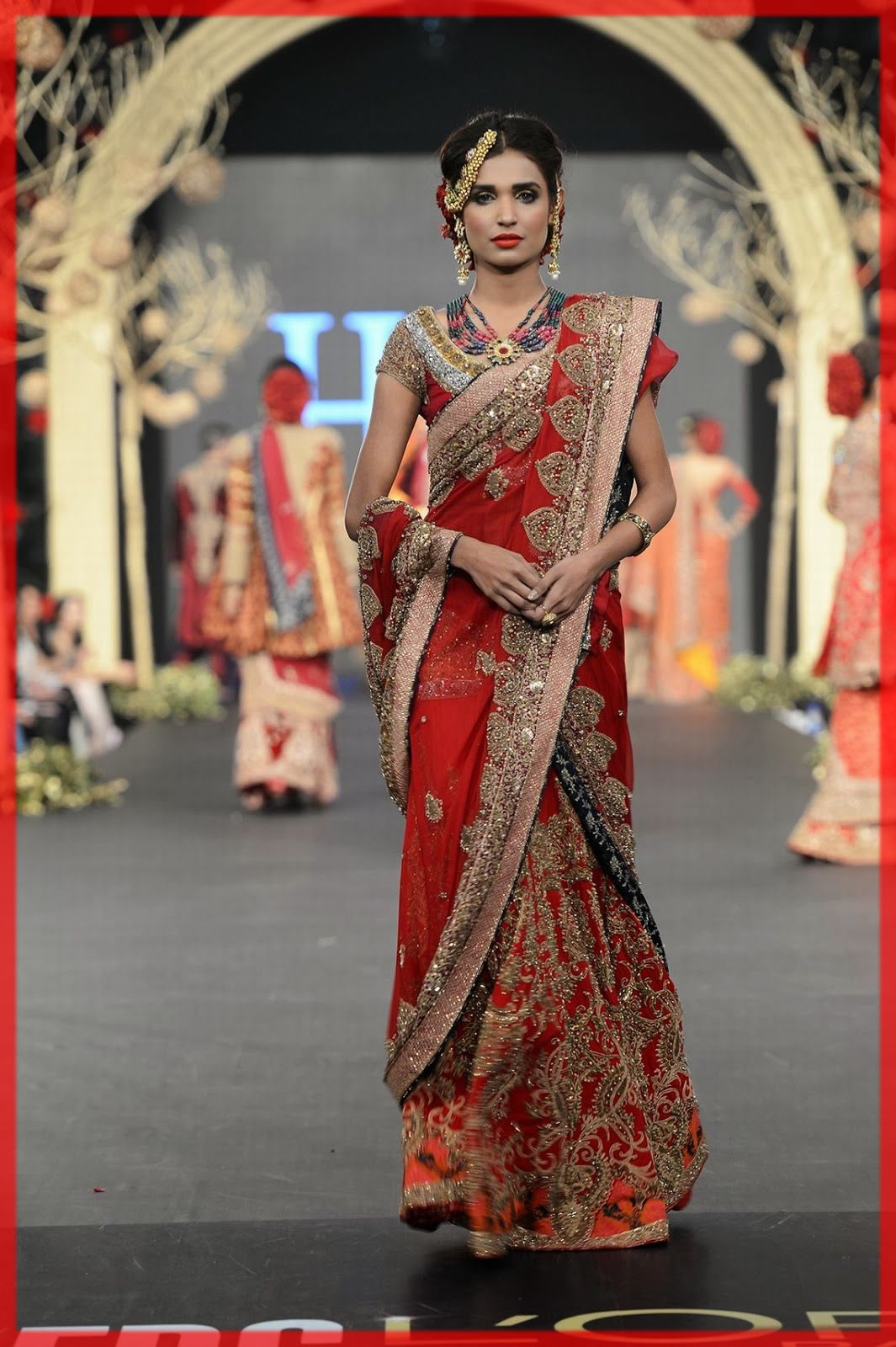 stylish red saree designs by HSY