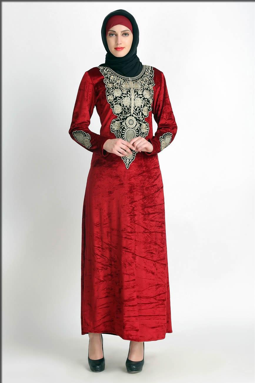 sytlish red abaya for brides