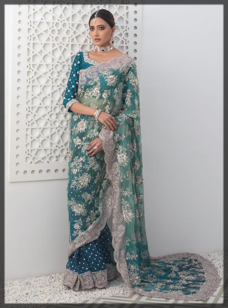 teal blue raw silk saree