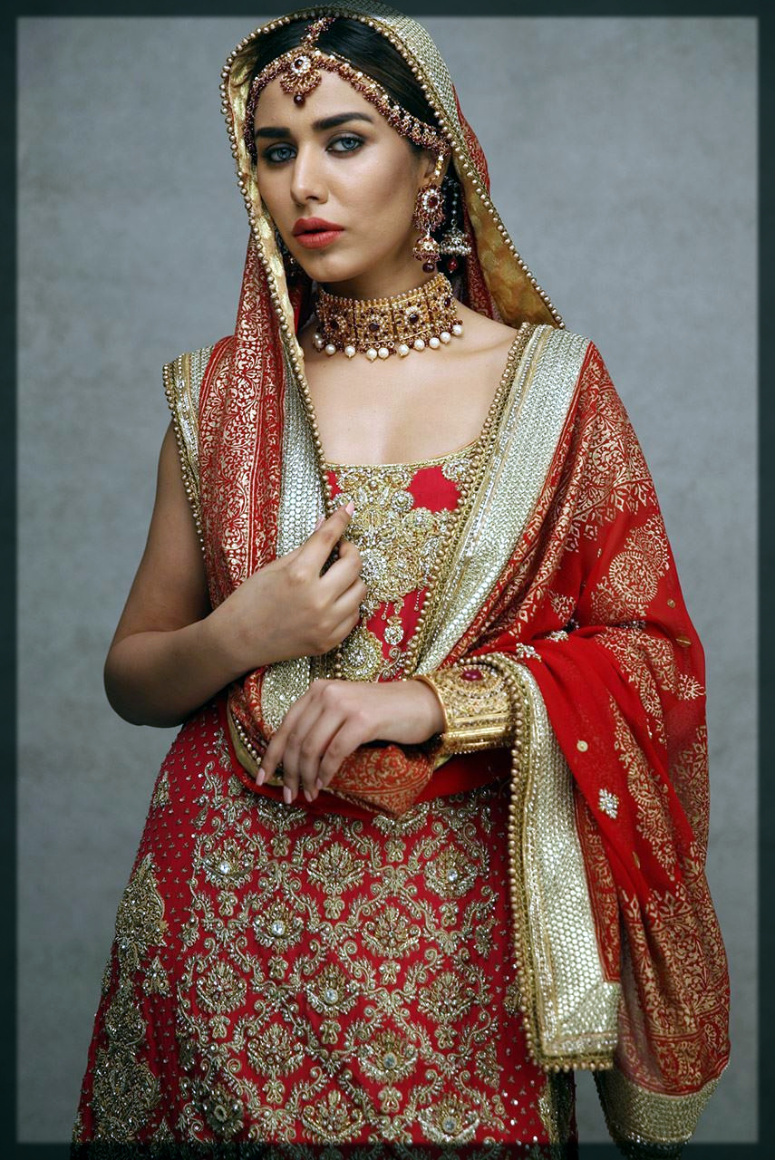 tradional red and gold bridal wear
