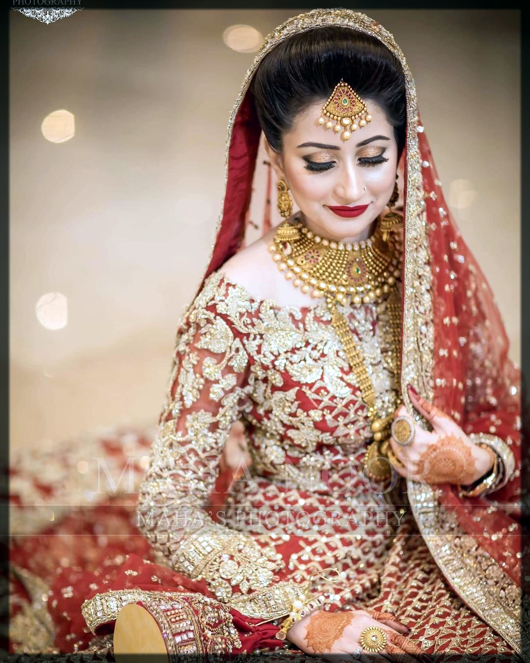 tradional red bridal makeup ideas