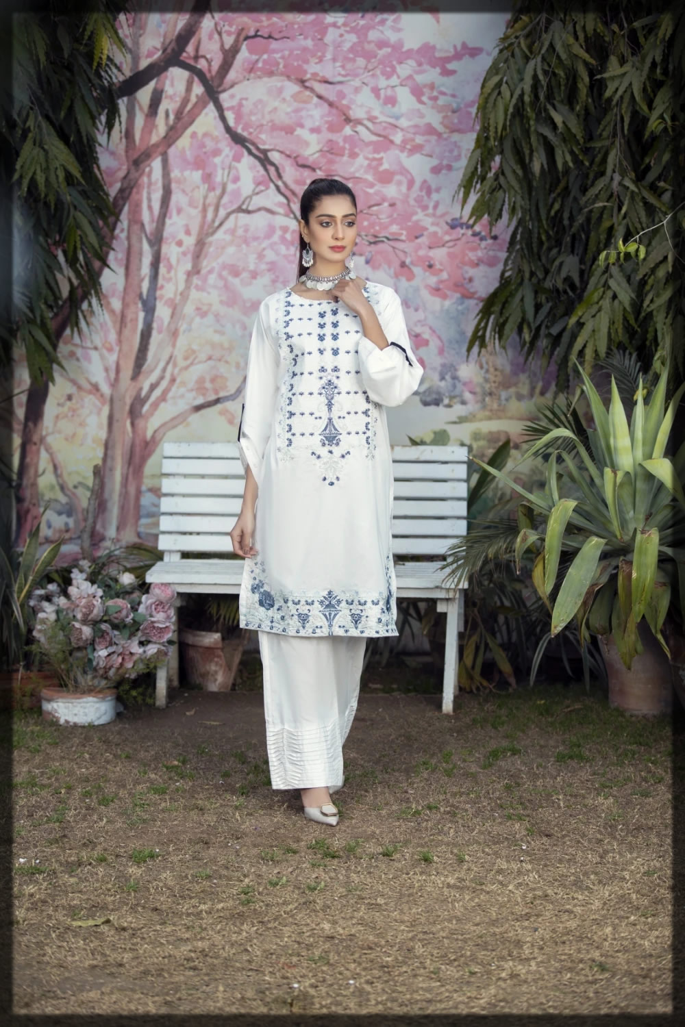 traditional white embroidered pret shirt