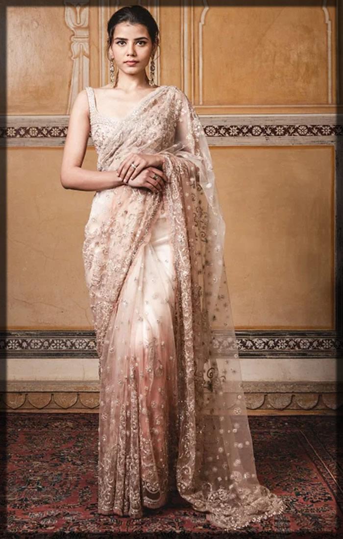 two toned bridal saree