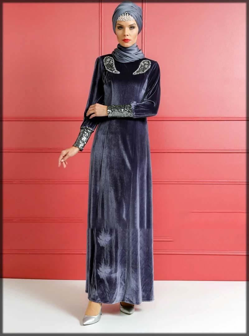 velvet abaya with beautiful stylish hijab