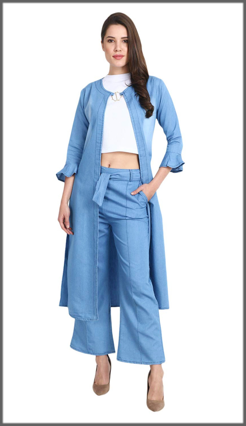 western denim outfit with long jacket