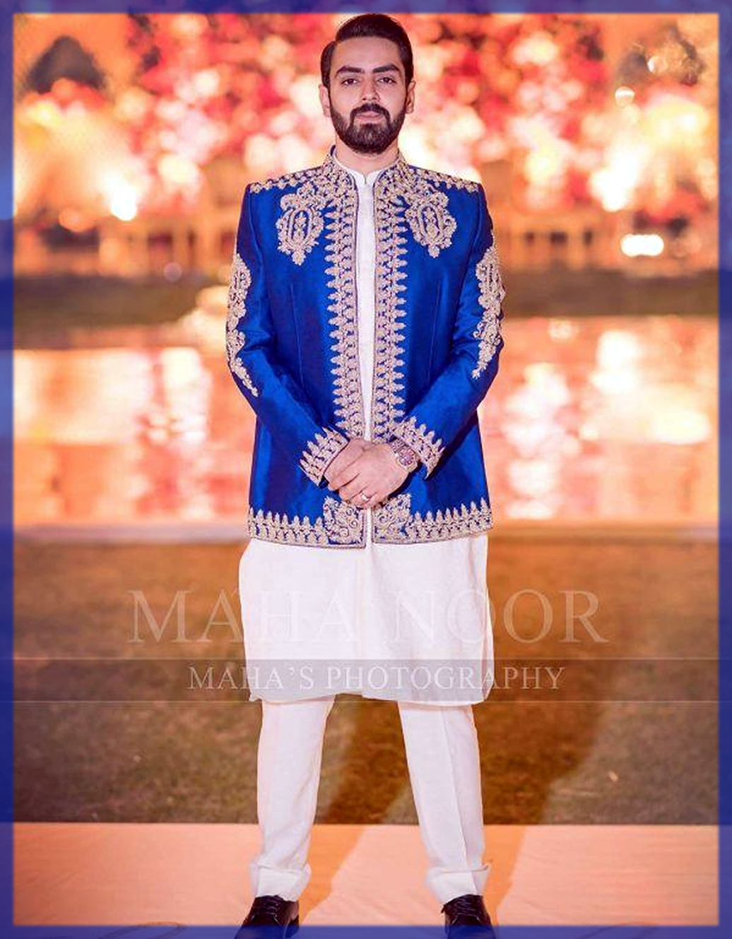 while shalwar kameez with blue waitcoat