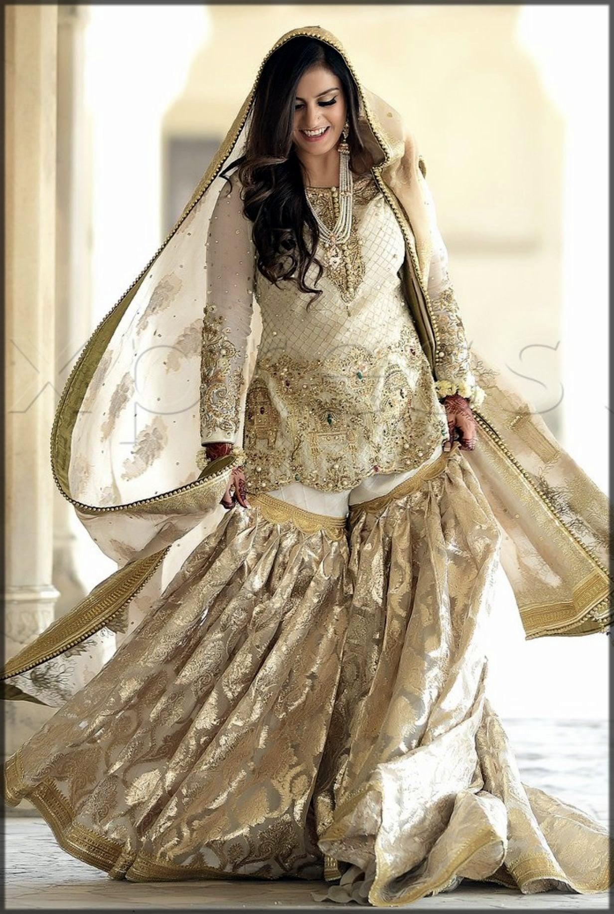 white bridal gharara