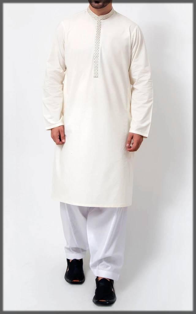 white embroidered attire for men