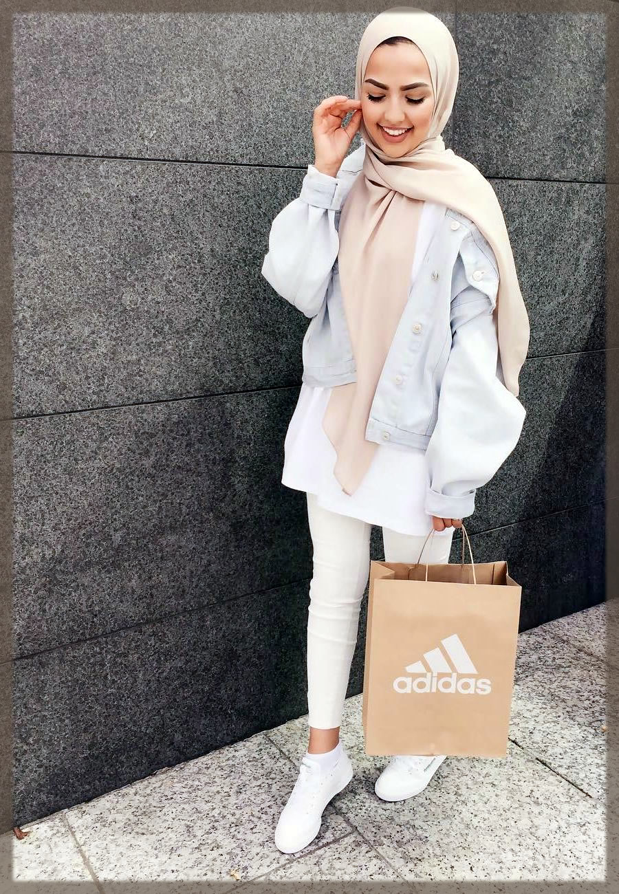 white jeans with hijab