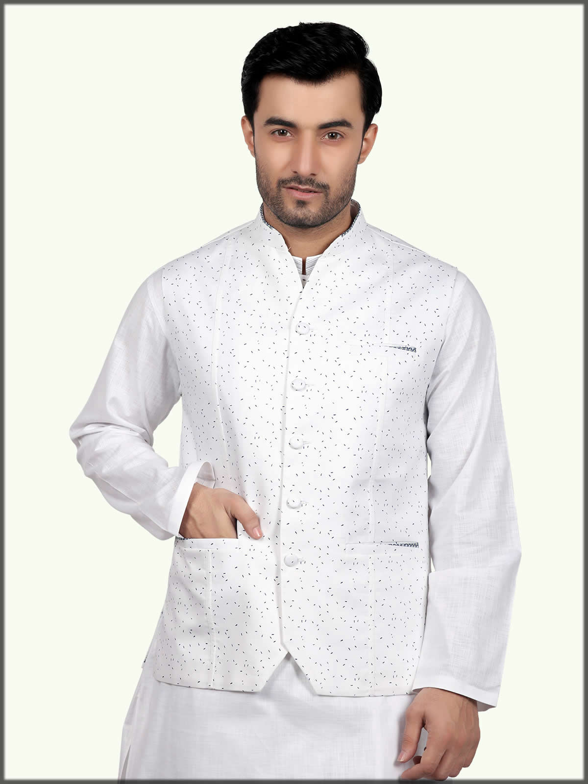 white printed waistcoat by eden robe