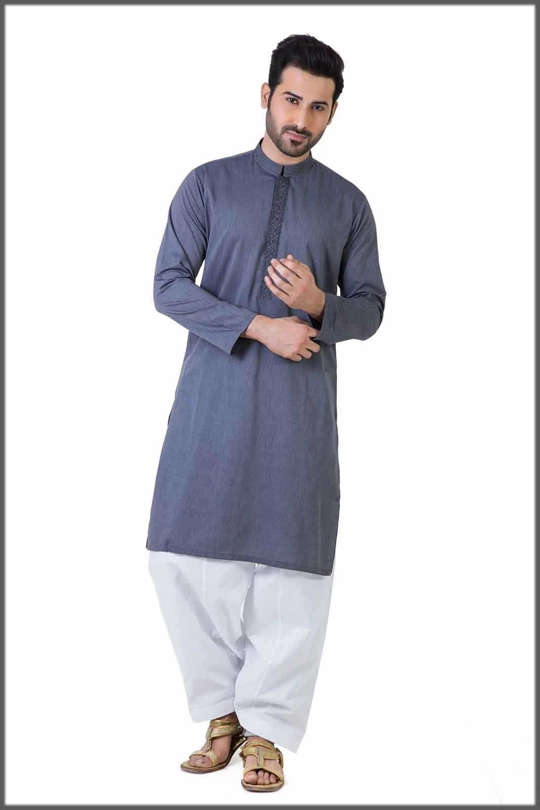 white shalwar with blue shirt