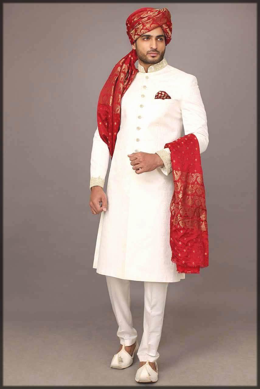 white sherwani for men