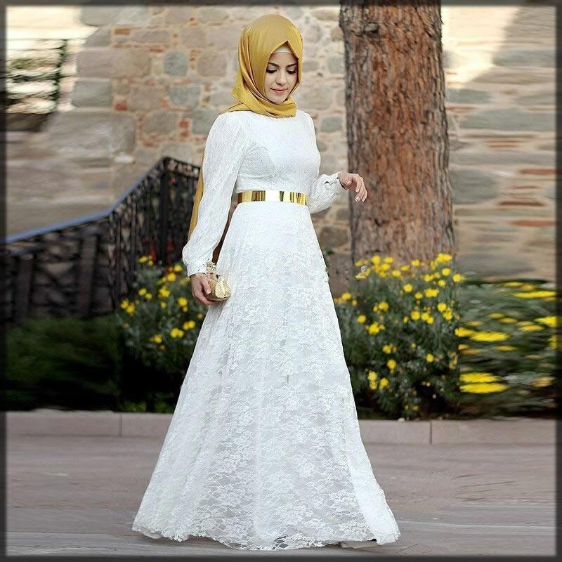 white wedding abaya dress