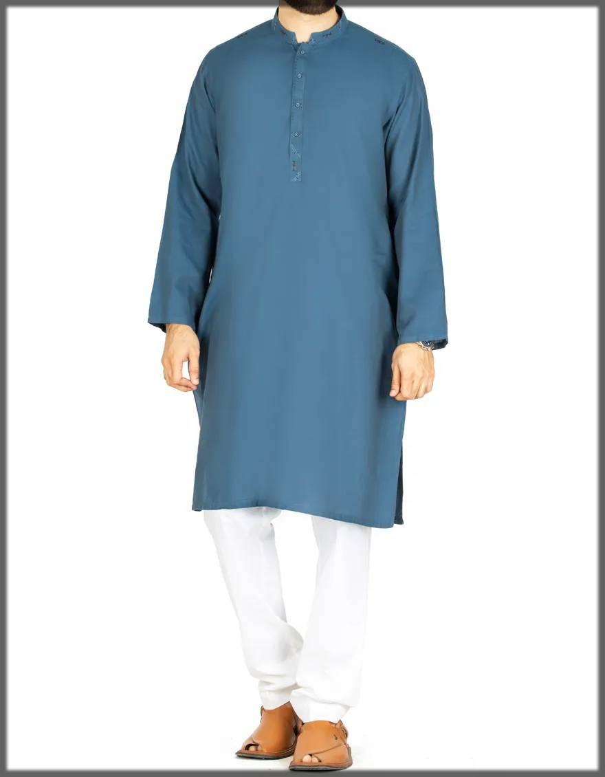 winter cotton attire in greyish blue