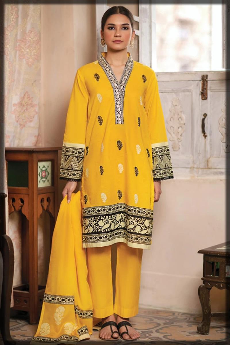 yellow block printed dress