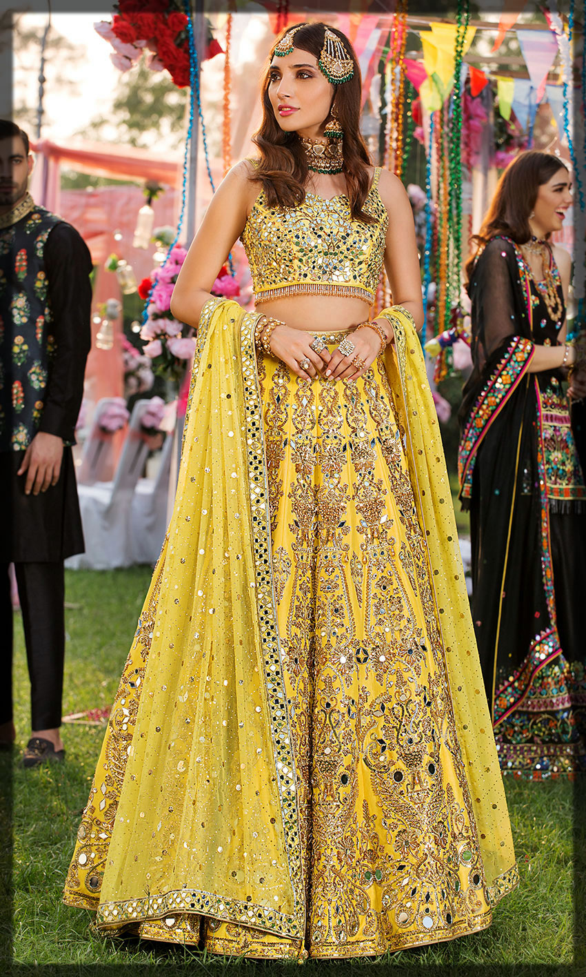 yellow emboridery dress for bride