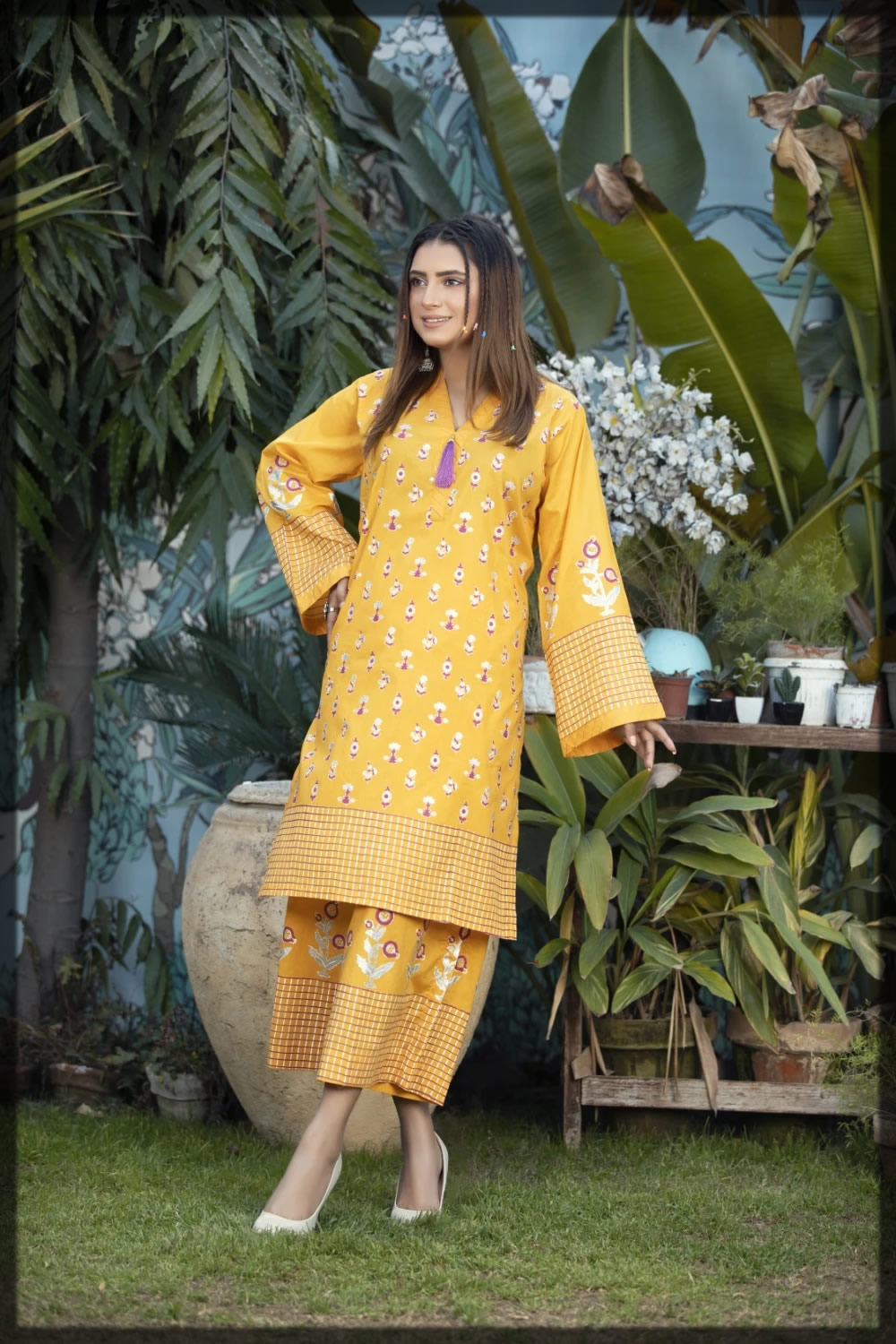 yellow embroidered two-piece suit