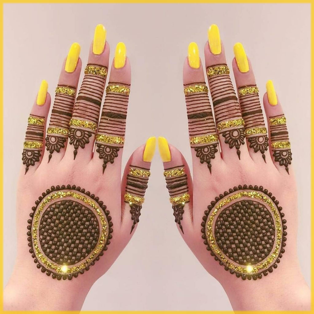 yellow glitter mehndi