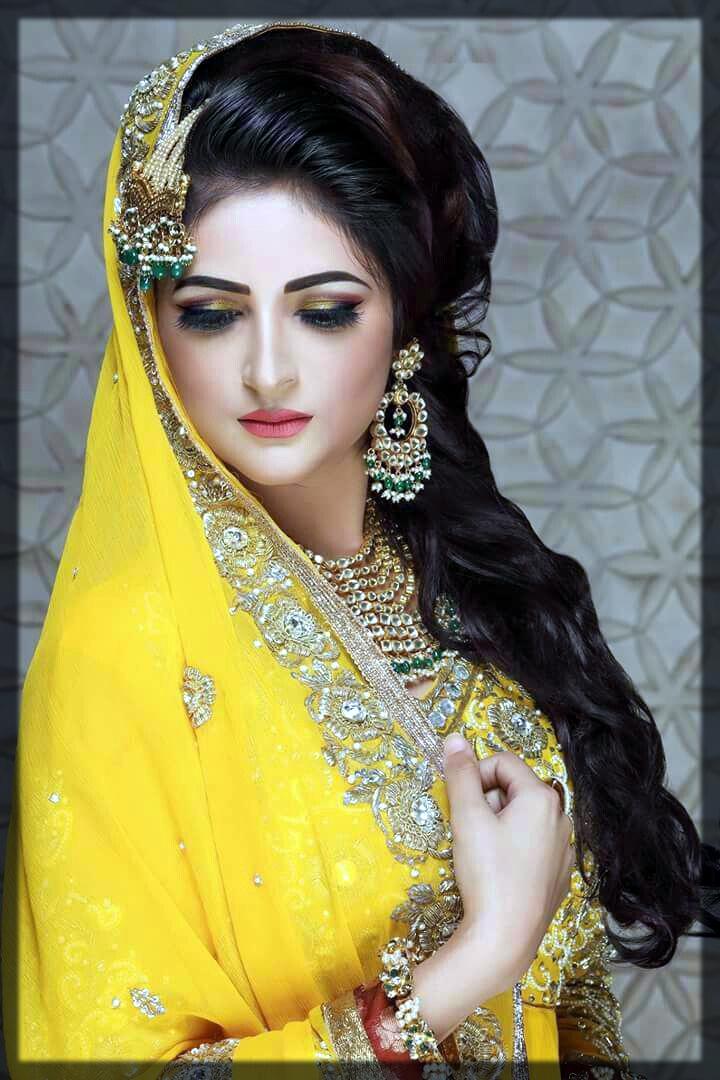 yellow pakistani bridal makeup look