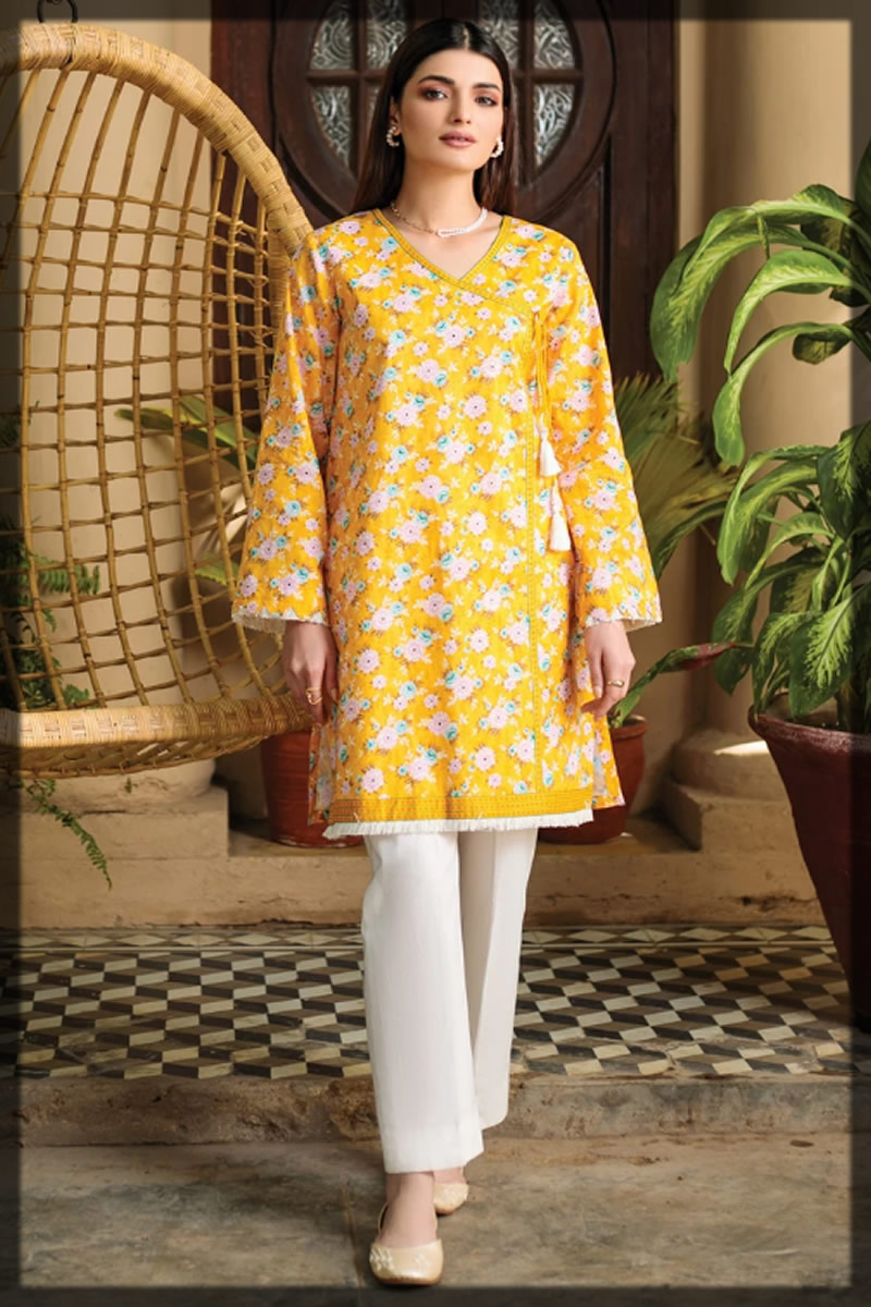 yellow printed Orient Textiles Summer Collection